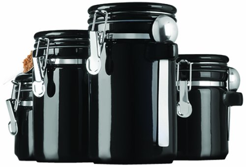 kitchen canisters black anchor hocking 4 black ceramic canister set with 12961