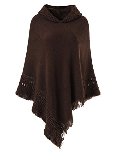 Ferand Ladies' Hooded Cape with Fringed Hem, Crochet Poncho Knitting Patterns for Women, Brown ()