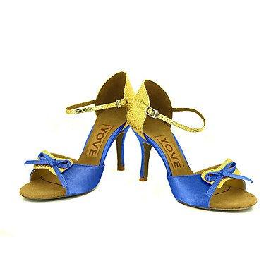 Rosa Amarillo Morado Blanco Rojo Latino Azul Personalizado Negro baile Tacón Personalizables de Salsa Blue Zapatos fwZYqXW1x