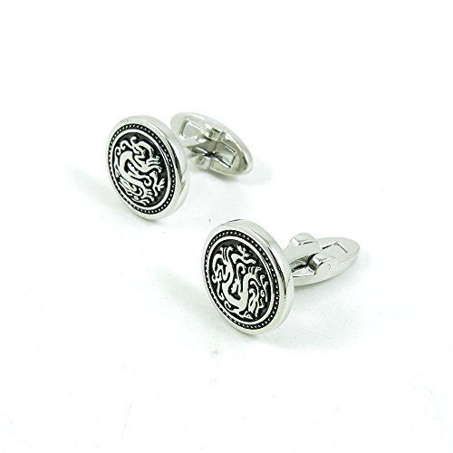 50 Pairs Cufflinks Cuff Links Fashion Mens Boys Jewelry Wedding Party Favors Gift JFA027 Silver Dragon Round by Fulllove Jewelry