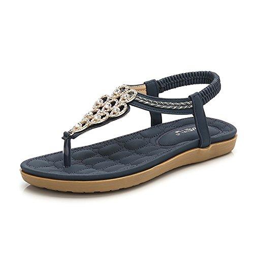 Meeshine Women's Casual Slingback Summer Beach Thong Flat Sandal(8 B(M) US,Blue 01)
