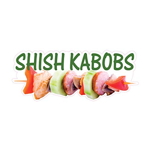 Die-Cut Sticker Multiple Sizes Shish Kabobs Restaurant & Food Shish Kabobs Indoor Decal Concession Sign White - 48in Longest Side (Best Cut For Shish Kebab)