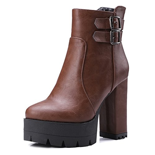BalaMasa Ladies Platform Buckle Color Matching Thick Bottom Heel Imitated Leather Boots Brown lHASNBSJ