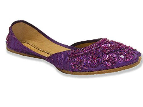 Beaded Sequin Bollywood Flats Cute Indian Khussa Purple Belly Dance Shoes Womens 8 (Sca Belly Dancing)