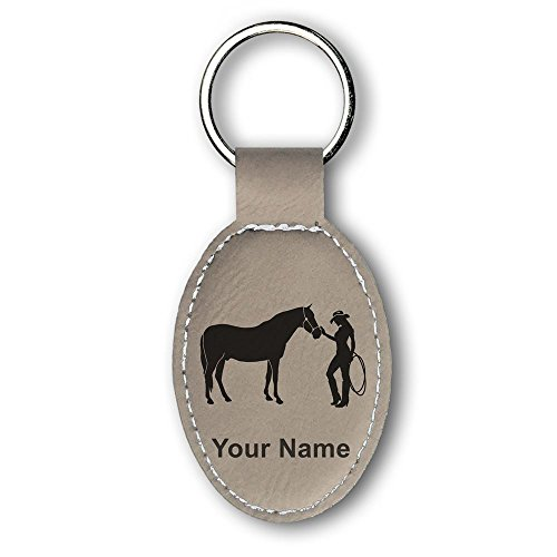 (Oval Keychain, Horse and Cowgirl, Personalized Engraving Included (Light Brown))