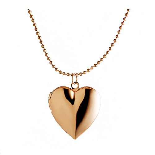 Simple Heart Locket Necklace Pendant,Lockets for Women Girl that Hold Pictures Rose Gold Tone