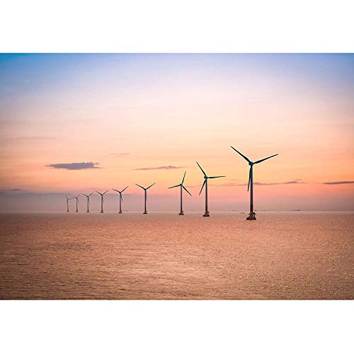 LanimioLOX Offshore Wind Farm at Dusk in The East China Sea. - Removable Wall Mural | Self-Adhesive Large Wallpaper ()