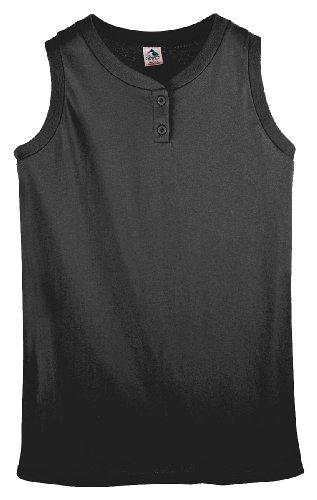 Augusta Sportswear Girl's Sleeveless Two-Button Softball Jersey, Small, Black