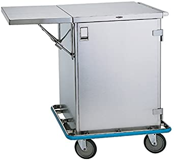 Pedigo Large Stainless Steel Surgical Case Cart - Cart with 1 Roll Out Wire Shelf & 1 Drop Leaf Shelf