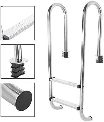 Sevenyou Escalera de Piscina, Escalera de Piscina con Pedal de Dos escalones, Acero Inoxidable, Antideslizante, anticorrosión, práctico y Duradero: Amazon.es: Hogar