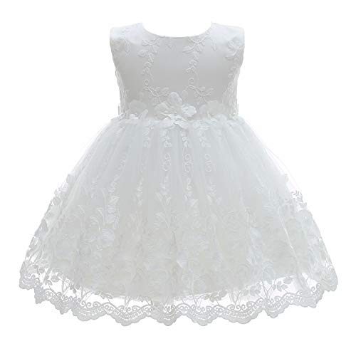 Silver Mermaid Baby Girl Christening Dress 2 Piece Floral Lace Christening Gown Baptism Dress Set(6M,White)