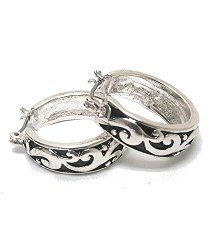 (Vintage Style Antiqued Nouveau Look Embossed Scroll Design Silver-Tone Hoop Earrings, 3/4 Inch Diameter)