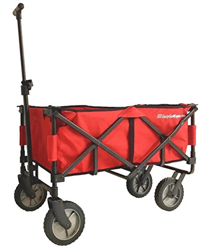 EasyGoWagon 2.0  Red Folding Wagon - Collapsible Heavy Duty Utility Pull Wagon - Fits in Trunk of Standard Car