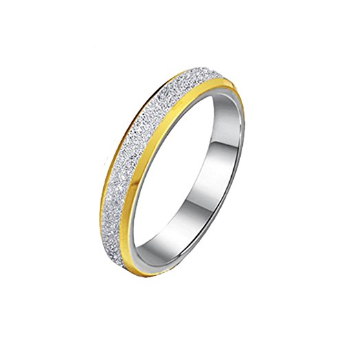 FR His and Hers 5MM/3MM Titanium Silver Matte Gold Beveled Wedding Band Ring for Women,Size 5