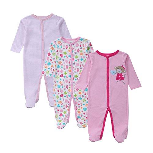Befaith Mamelucos recién nacidos del bebé 3pcs / set que suben mono del mono del bebé de la Largo-Manga del algodón 7-9 meses