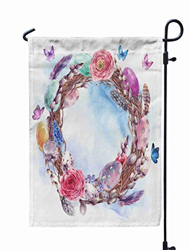 Shorping Welcome Garden Flag, 12x18Inch Watercolor Happy Easter Wreath Spring Bouquet Colored Eggs Feathers Butterflies Botanical Vintage for Holiday and Seasonal Double-Sided Printing Yards Flags
