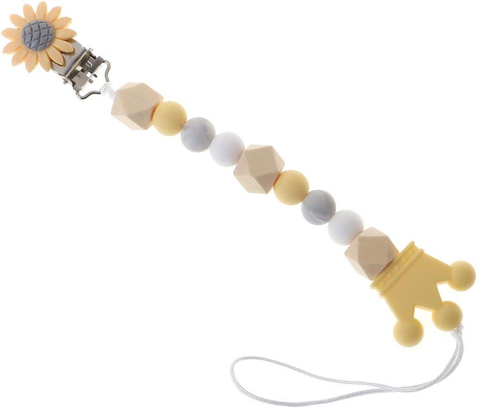 ni/ño Antiarrugas y Anti-Fade,Unisexo y Adorable cadenas para chupetes de silicona Baiyao Chupetes de Clip Beb/é Limpiable Amarillo Hecha de Materia Segura