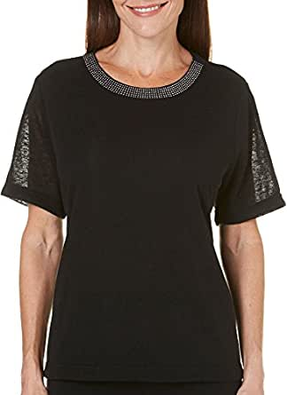 Cathy Daniels Petite Solid Embellished Neck Top at Amazon ...