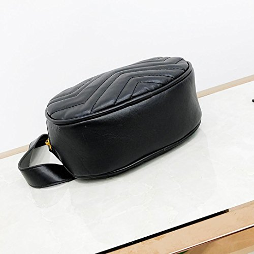 Kehome Women Bag Fashion Pure Color Leather Messenger Shoulder Bag Chest Bag Quilted Leather Fanny Pack Classy Wasit Bag (Black) by Kehome (Image #4)