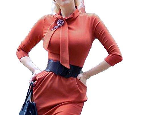 better-caress Vintage Chic for Top Retro 50s Tie Neck Pencil Bodycon Pockets Orange Work Office Women,6068Orange,M - Neck Caress Satin