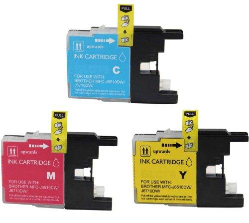 Virtual Outlet 3 Pack Compatible Inkjet Cartridges for Brother LC-75 LC75 LC 75 LC-75XL, LC-75C LC-75M LC-75Y High Yield Compatible with Brother MFC-J6510DW, MFC-J6710DW, MFC-J6910DW, MFC-J280W, MFC-J425W, MFC-J430W, MFC-J435W, MFC-J5910DW, MFC-J625DW, MF