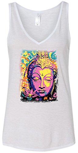 Yoga Clothing For You Psychedelic Buddha Flowy V-Neck Tank Top, Small White