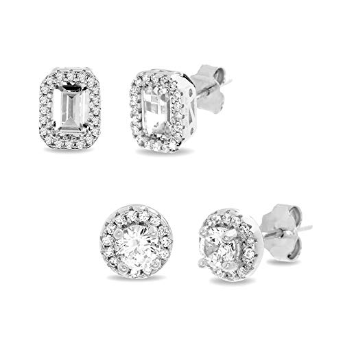 (MIA SARINE 9mm Emerald and 7mm Round Cut Cubic Zirconia 2 Pair Bridal Gift Halo Stud Earring Set for Women in Rhodium Plated 925 Sterling)