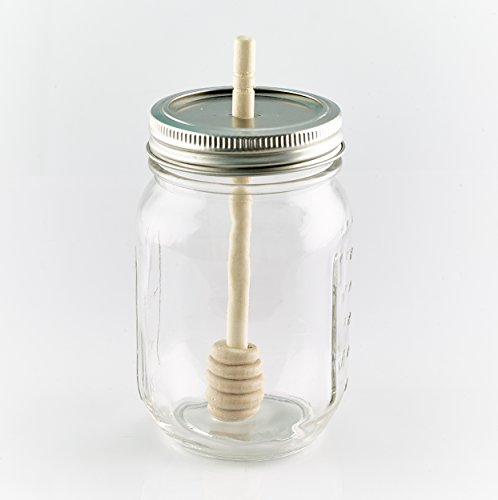 2 x Smith's Mason Jars Lid and Bamboo Honey Dipper (jar not included)