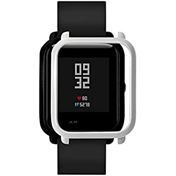 ChainSee Colorful PC Edge Case Cover Protect Bumper Shell for Xiaomi Huami Amazfit Bip Youth Watch (Silver)