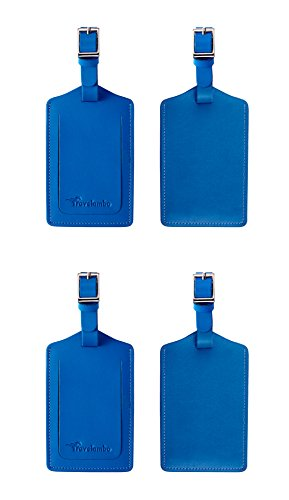 Travelambo Genuine Leather Luggage Bag Tags (blue 4 pcs set)