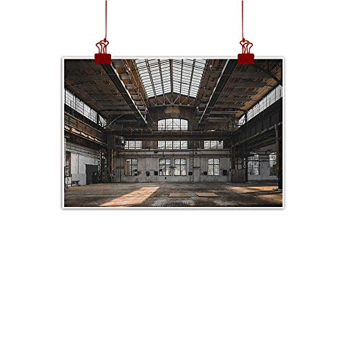 Anyangeight Canvas Wall Art Industrial,Inside a Hangar Old Architecture Construction Urban Life Timeworn Windows, Brown White Grey 36
