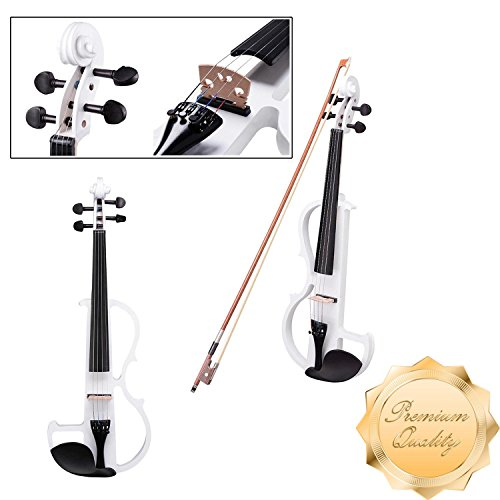 GC Global Direct Full Size Maple Silent Electric Violin Headphone Set w/ Case (Half Size, White) by GC Global Direct