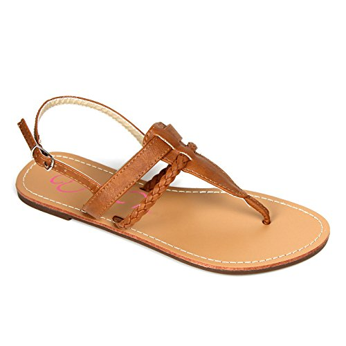 Women's Braided T Strap Thong Gladiator Flat Flip Flops Slipper Sandals (8.5, Tan) (Brown Thong Slippers)