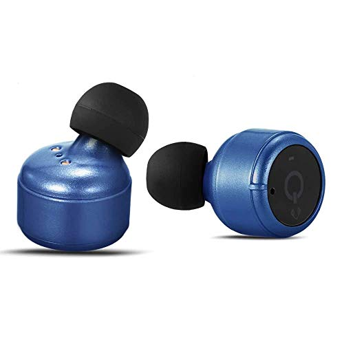 Dual Bud Stereo - Bluetooth Ear buds, TechCode True Wireless Earphones Dual Smallest Stereo Cordless In Ear Sport Headphones Noise Cancelling Mic Charging Case Phone, Samsung, HTC, Huawei(Blue)