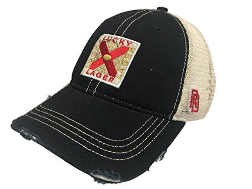 Lucky Lager General Brewing Company Retro Brand Vintage Mesh Beer Adjust Hat - Lager Lucky
