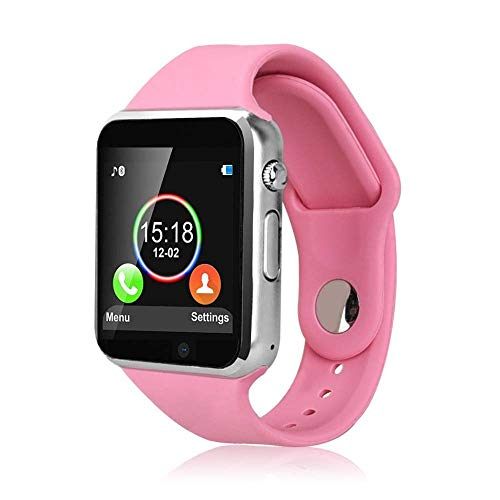 Smart Watch, Sazooy Touchscreen Bluetooth Smart Wrist Watch Smartwatch Phone Fitness Tracker with SIM SD Card Slot Camera Pedometer Compatible iOS iPhone Android Samsung for Men Women Kids (Pink)
