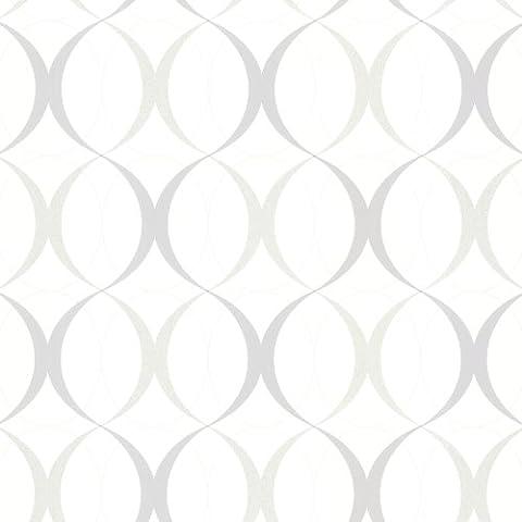 Beacon House 450-67352 Circulate White Retro Orb Wallpaper, White (Washable Wallpaper)