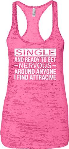 Blittzen Ladies Tank Single and Ready to Get Nervous Around, XL, Pink