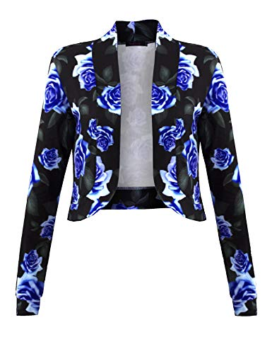 (Sufiya Women's Floral Lightweight Open Front Shrug Blazer Jacket)