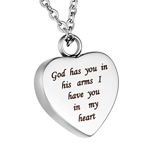 HooAMI Heart Cremation Urn Necklace for Ashes Keepsake Memorial Jewelry -God has you in his arms I have you in my (God Keepsake)