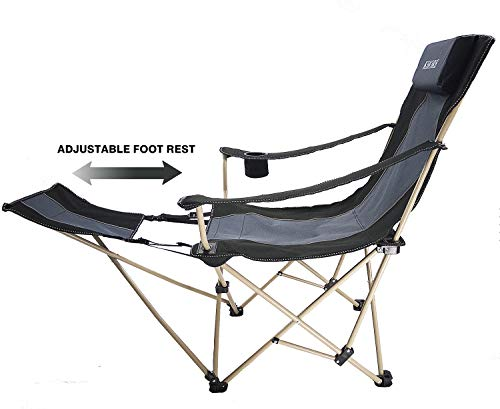 KHORE Camping Folding Portable Recliner Chair with Adjustable and Removabel Footrest (Black)