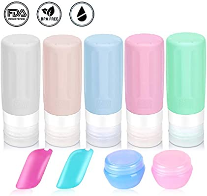 Travel Bottles TSA Approved 9 PCS Travel Containers for Toiletries BPA Free Silicone Travel Bottles Leak Proof FDA Approved Refillable for Shampoo Conditioner Facial Cleanser Cream 2.9 oz(Set)