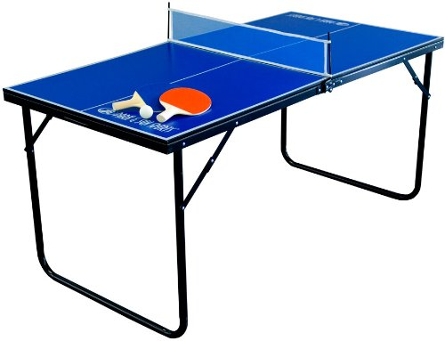 Blue mini ping-pong table with paddles and ball isolated on white background.