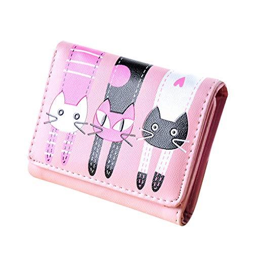Cartoon Beaums monnaie Boucle Cuir En Court Pliant Porte Pu Porte Cartes Étudiants Pink Pouches Wallet Triple FwE1qw