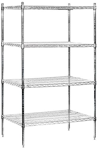 - Salsbury Industries Stationary Wire Shelving Unit, 36-Inch Wide by 74-Inch High by 24-Inch Deep, Chrome