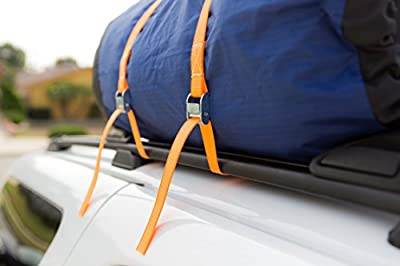 Cam Buckle Tie Down Straps | Lashing Straps for Kayaks, Canoes and Roof-Mounted Cargo | All Climate Use, Fast & Easy to Use | Titan Auto 800LB Limit Made of Zinc Alloy & High Tenacity Polyester