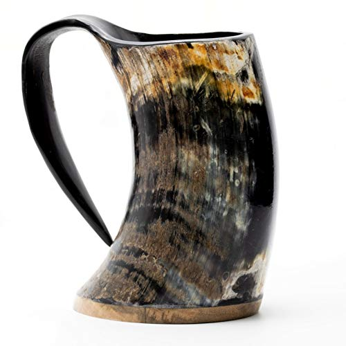 Norse Tradesman Original Viking Drinking Horn Mug - 100% Authentic Beer Horn Tankard w/Natural Surface & Burlap Gift Sack  