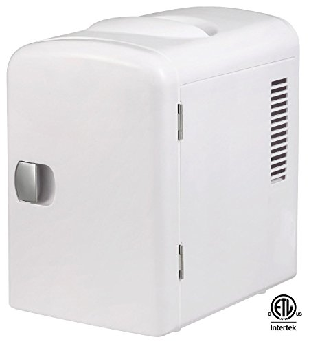 Gourmia GMF600 Thermoelectric Mini Fridge Cooler and Warmer - 4 Liter/6 Can - For Home,Office, Car, Dorm or Boat - Compact & Portable - AC & DC Power Cords - White by Gourmia