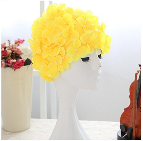 Swimming Hat Floral Petal Retro Style Flower Shower Cap For Women (one, Yellow)