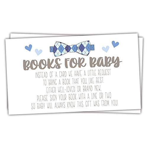 50 Count - Little Man Books for Baby - Boy Baby Shower Invitation Inserts]()